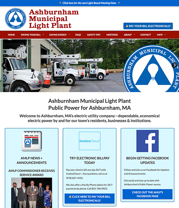 Image of a Website Home Page for a Municipal Light Plant designed by ComfortZones